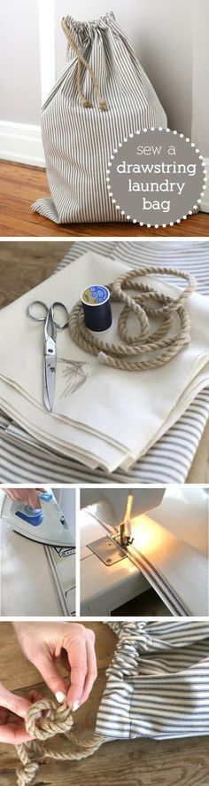 Just because it's for laundry doesn't mean it can't be cute and stylish! DIY a drawstring laundry bag that is functional, portable (good for travel) and perfect for small spaces like dorm rooms. http://www.ehow.com/how_2173785_sew-drawstring-laundry-bag.html?utm_source=pinterest.com