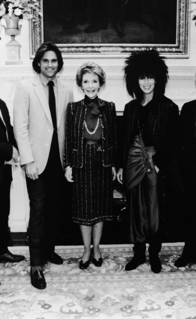 From Bruce to Caitlyn: Photos of Jenner Over the Years: Bruce Jenner in 1985 With Nancy Reagan and Cher at the White House