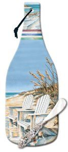 CounterArt Beach Days Wine Bottle Shaped 12-1/2-Inch Glass Cheese Cutting Board with Spreader Knife by Counter Art. $16.99. Tied leather cord allows for hanging. Non-skid feet on the back prevent scratches on surfaces. Artistic design adds a distinctive style. Cheese spreader knife included. Sturdy tempered glass is break-resistant. Perfect for entertaining, this cheese set from CounterArt features a sturdy tempered glass body in the shape of a wine bottle that is hygienic and ...