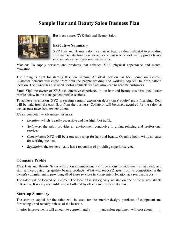 Spa Business Plan Template Spa Business Plan Template