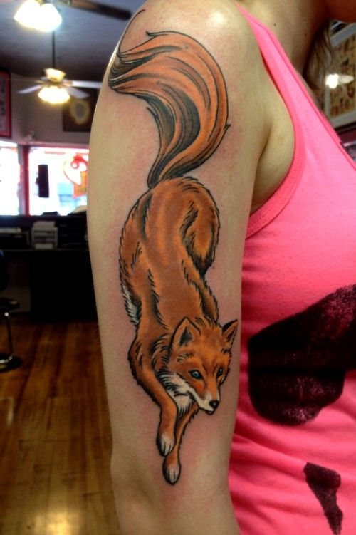 tattoo shop colorado springs, traditional tattoo, full color tattoo, tattoo shop denver, professional tattoo, fox tattoo, arm tattoo
