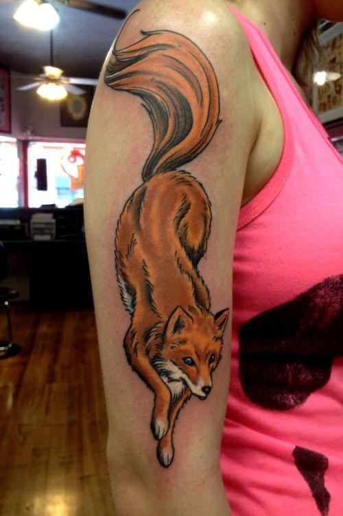 Full Color Fox Tattoo by Ron Dolecek | Lucky Devil Tattoo