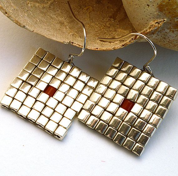 Silver Square Earrings Miyuki Seed Beads with Coral Dot