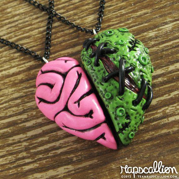 Zombie Brain Heart Best Friends Set por rapscalliondesign en Etsy