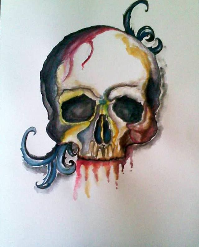 Skull, A4 watercolor