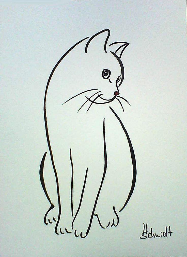 1 of 1: H.Schmidt katze*Cinderella*cat chat gato strichzeichnung deko original Aquarell Katze Tier Siluette