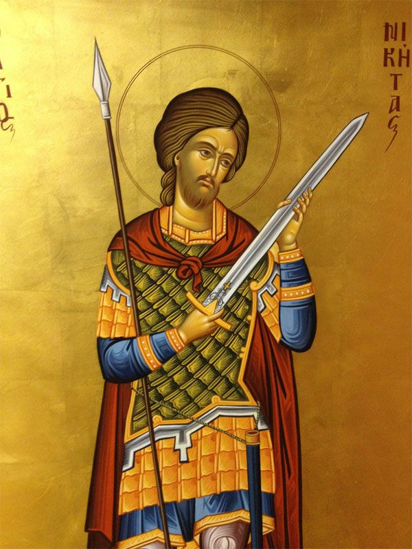 Holy GreatMartyr Nicetas the Goth defended Christians from the Gothic prince Athenarik, denouncing his paganism and inhumanity. While tortured, Nicetas bore an icon of the Virgin in his breast because she had appeared to him and comforted him. After Marianus took N's body from Goth land (Wallachia and Bessarabia) to Mopsuestia, Cilicia, he built a church dedicated to St. Nicetas, placing his holy relics there. (Iconostasis of the Cathedral Church of Saint Luke the Evangelist, Hong Kong)