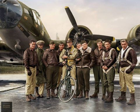 #WW2ColourisedPhotos .... US Air Force pilot 2nd Lieutenant Robert Wade Biesecker with his crew of the 569th Bombardment Squadron, 390th Bomb Group, US Eighth Air Force, standing by 'Honey Chile', their B-17 Flying Fortress bomber (serial 42-31027), at RAF Framlingham, a US Eighth Air Force Bomber Command station in England, 18 October 1943.