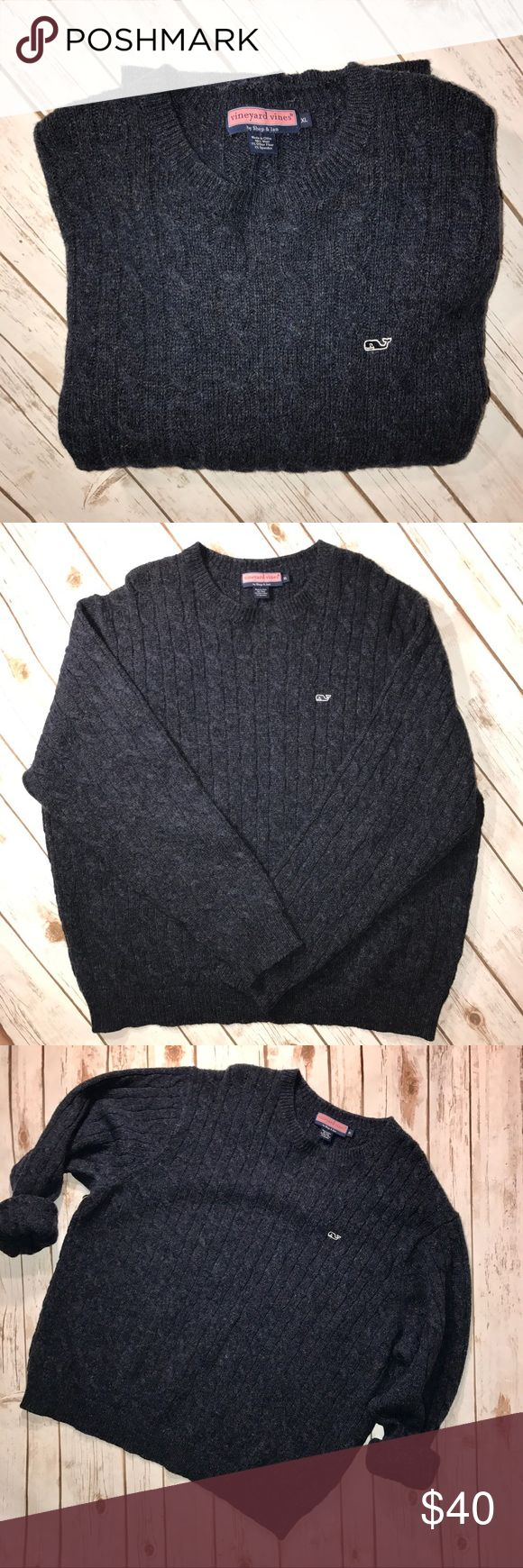 """Vineyard Vines men's XL cable knit sweater Mens Vineyard Vines dark blue cable knit sweater size XL. In great condition. No stains or rips. Measurements for flat lay: Shoulder to Shoulder (22"""") Armpit to Armpit (27"""") Top to Bottom (29"""") Sleeve Length (27"""") Vineyard Vines Sweaters Crewneck"""