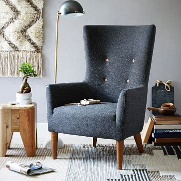 Victor Armchair #westelm I like the contemporary approach to a wingback chair -- traditional and more formal, but modern at same time.  Several fabric and color options as well.