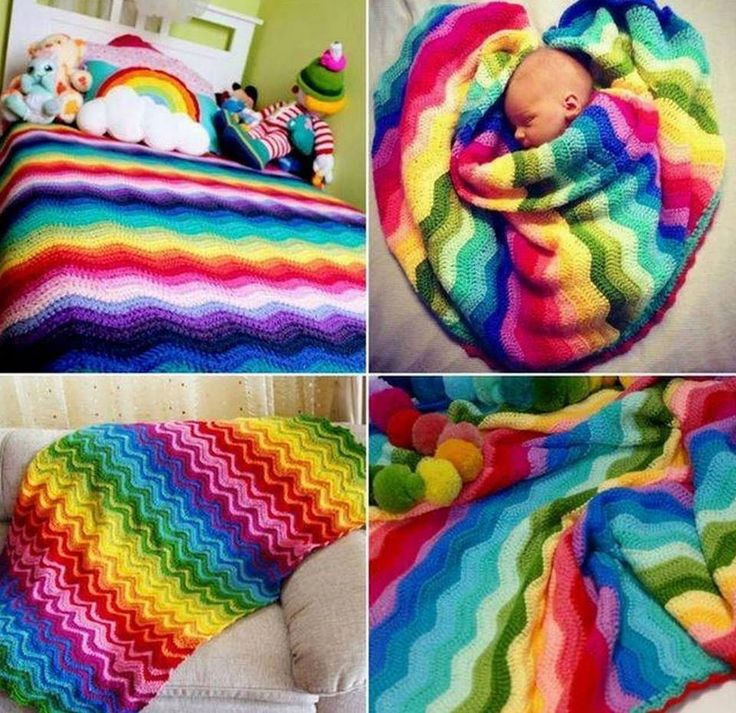 Colorful Häkeln Ripple Granny Afghan Muster Composition - Decke ...