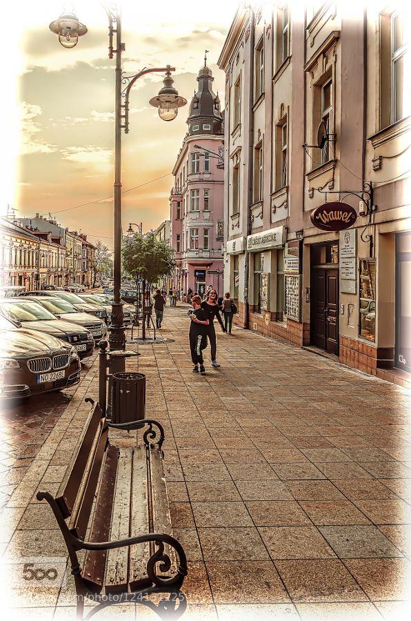 bench - Pinned by Mak Khalaf view of Krakowska Street - Tarnow - Poland City and…