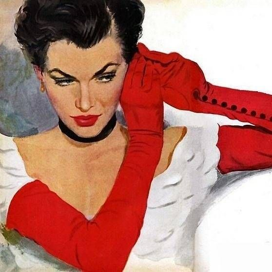 """""""Red gloves and earring"""" illustration by Coby Whitmore for the story Heartbreak by Al Barker, Good Housekeeping magazine, 1950s. #cobywhitmore #illustration #red #glove #american #midcentury #vintage #1950s #modernizor #inspiration #icon #posing #wow..."""