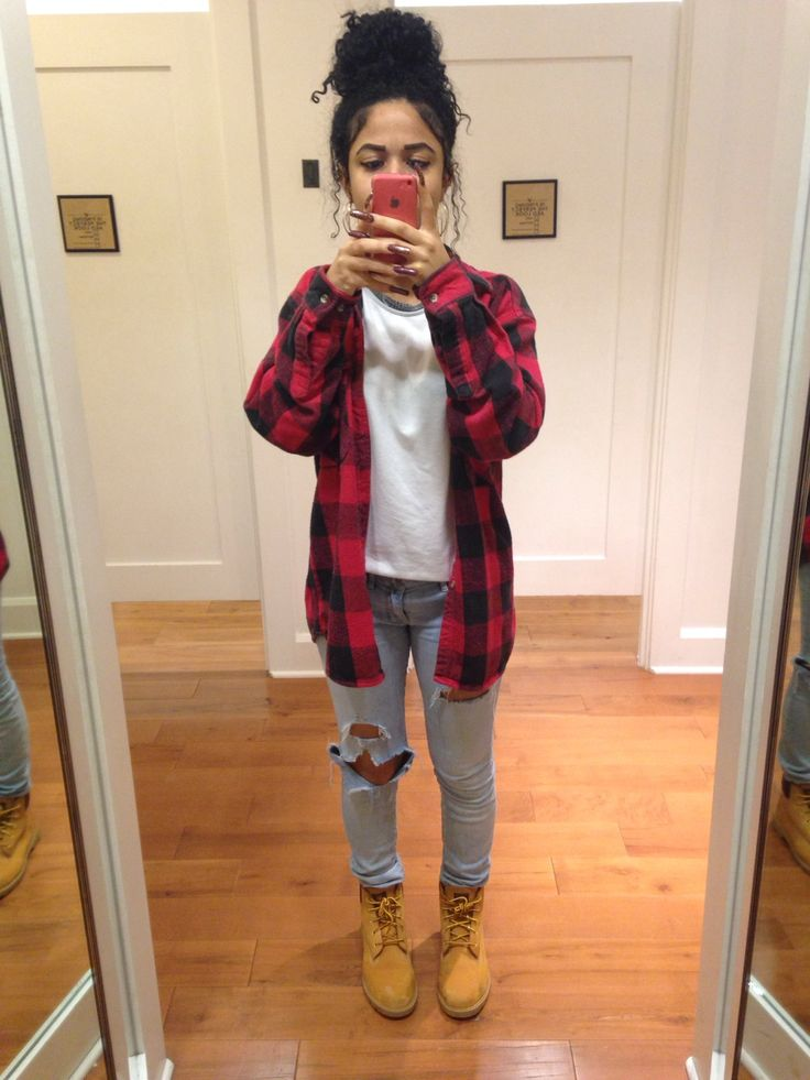 Ripped Jeans with White T and Plaid Button Down with Tims