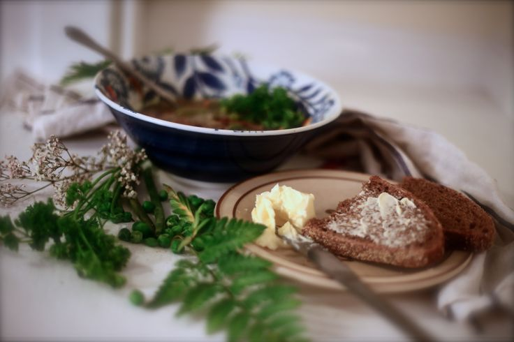 German pea soup with traditional German bread. YUM!