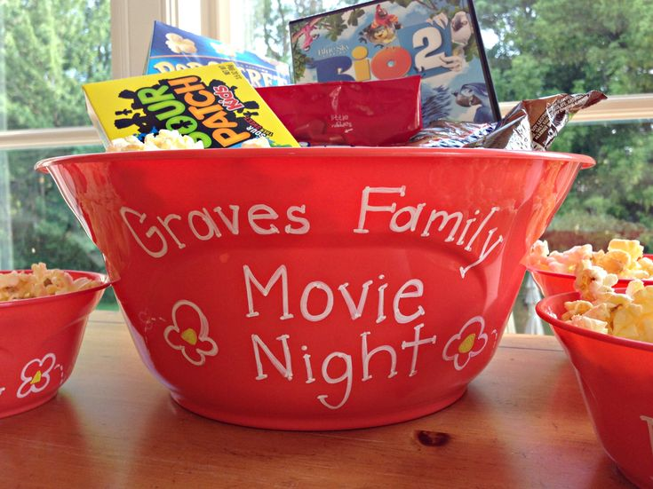 Family Movie Night Gift in a DIY Popcorn Bowl