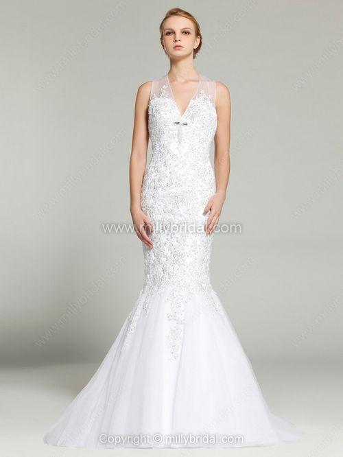 Trumpet/Mermaid Halter Satin Tulle Sweep Train Crystal Brooch Wedding Dresses