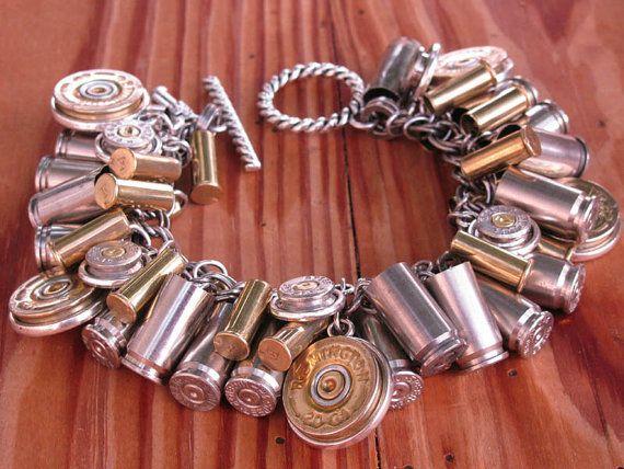 I NEED 2 MAKE SOME: Shotgun and Bullet Casing Jewelry - Mixed Metal Loaded Bullet and Shotgun Casing Charm Bracelet