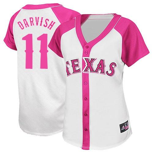 Tx Ranger In Pink   Texas Rangers 11 Yu Darvish White Pink Women s Splash Fashion Jersey ...