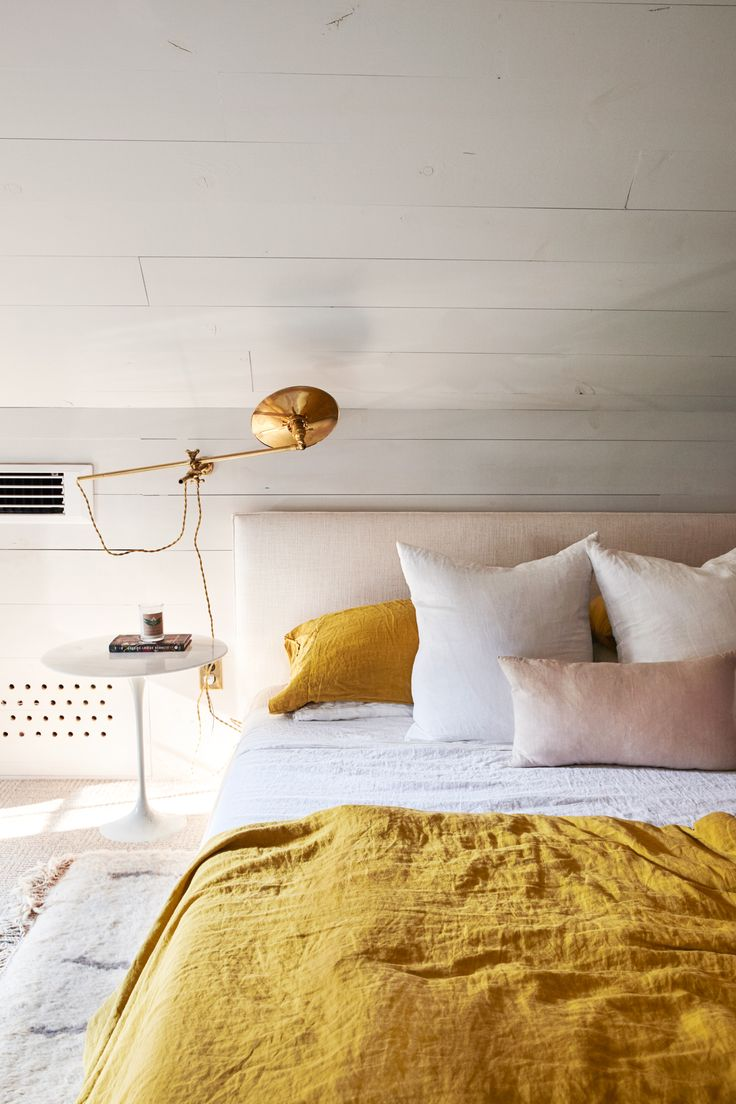 Mustard and blush pink colour scheme bedroom!