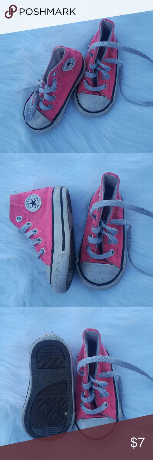 Toddler Shoe Bundle Toddler pink high top Converse, good condition but needs cleaning size 4. Blue & Pink Shoes  are gently used size 3, Sofia the First flip flops barely used size 4. Converse Shoes Sneakers