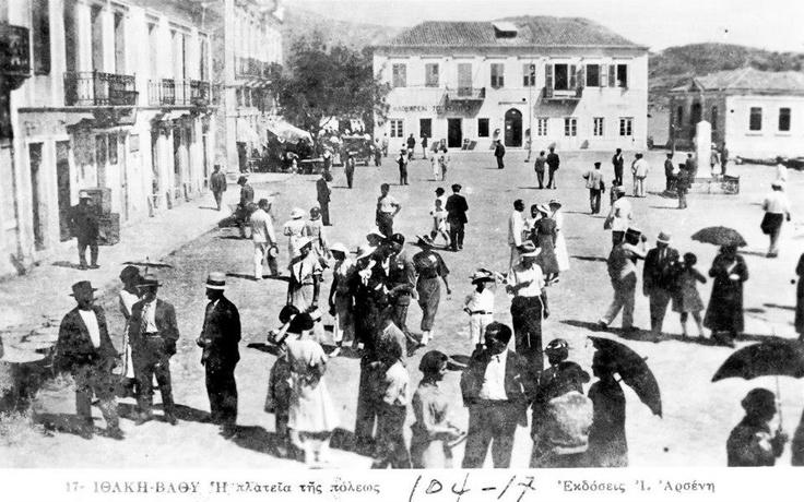 Επιστολικό δελτάριο, Η πλατεία στην Ιθάκη, c.1910. Carte postale, Ithaca square, c.1910