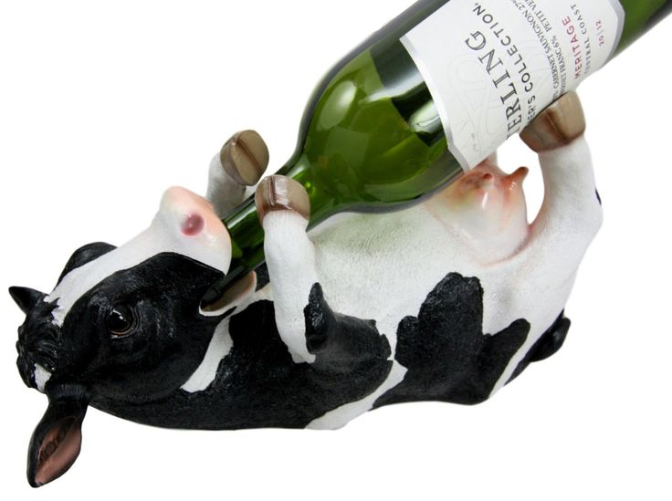 Kitchen Decor Bovine Brew Holstein Cow Oil Wine Bottle Holder Figurine Statue