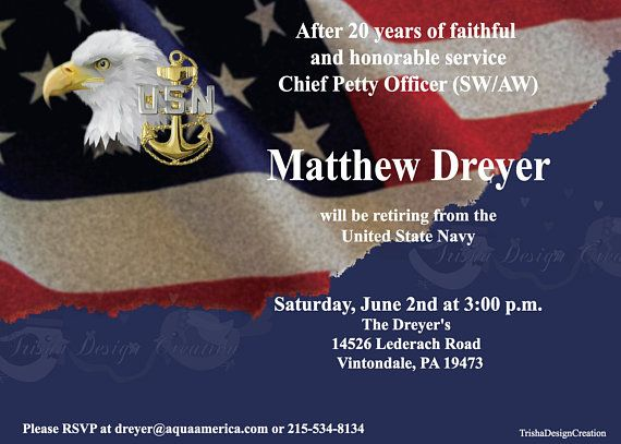 Navy Chief Petty Officer Theme Retirement Invitation Each With Envelopes Chief Petty Officer Navy Chief Petty Officer Retirement Party Invitations