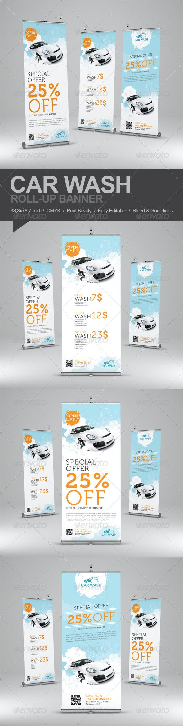 Car Wash Roll-Up Banner  #GraphicRiver         Promote your business with a unique and creative roll-up banner template package.  	 Perfect for a wide range of car wash related businesses like: Car Wash & Auto Detailing Services or Car wash Equipment.  	 Simple to work with and highly customizable, it ca be easily adjusted to fit your needs.  	 Features:   33,3×78,7 inch (850×2000mm)  CMYK  150 dpi  Print