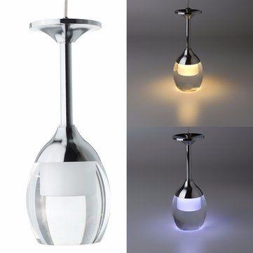 Moderne LED verre de vin plafonnier lustre lampe luminaire barre de suspension d'éclairage