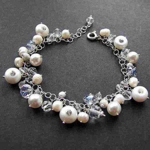 Skąpana w niewinności, bransoleta z pereł - Biżuteria ślubna - Biżuteria srebrna