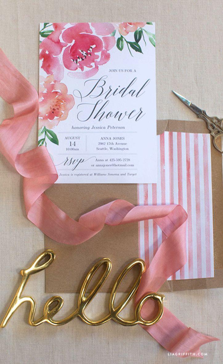 blank beach bridal shower invitations%0A DIY Peony Watercolor Bridal Shower Invitation from MichaelsMakers Lia  Griffith