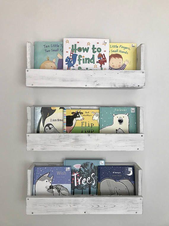 White Distressed Wood Book Shelf