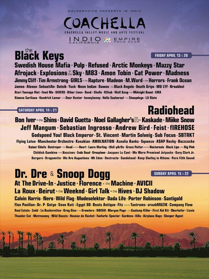 Coachella Festival Lineup 2012