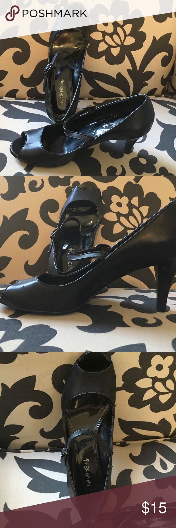 Black heels with strap Wore these once to a wedding.  Great condition. Nickels soft Shoes Heels