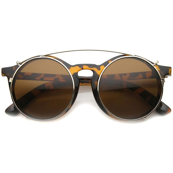 Vintage Round Horned Rim With Crossbar Clip On Sunglasses 9792 ($11) ❤ liked on Polyvore featuring accessories, eyewear, sunglasses, vintage style sunglasses, oversized round sunglasses, oversized sunglasses, vintage glasses and round lens sunglasses
