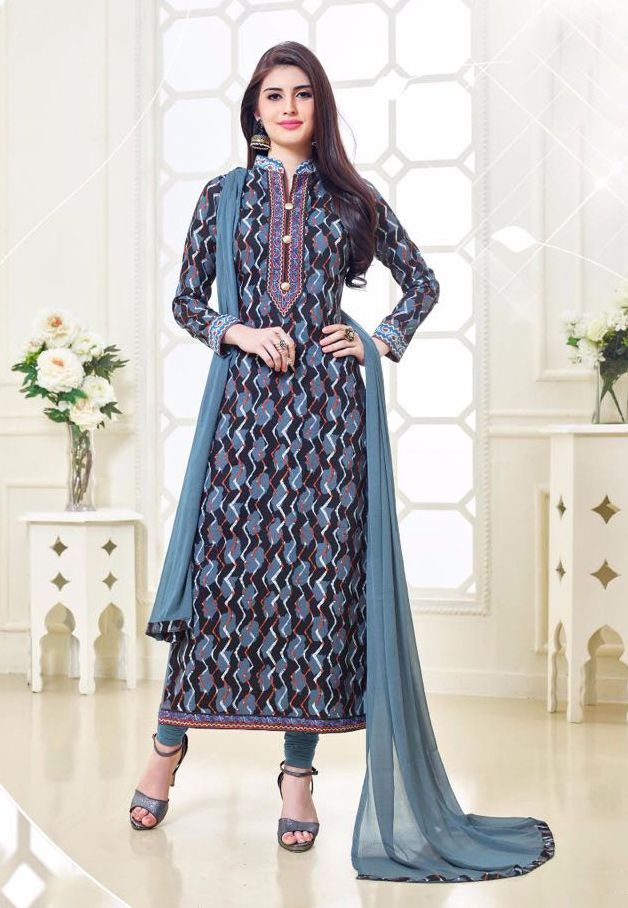 Buy Online Designer Printed Churidar Suit or shuits Grey Color, Cotton material, Chiffon Dupattas, Party Wear, Casual wear, Summer Wear, Festival Wear, Kitty Party Wear for women, Churidar Suits, Churidar suit, shuits for women. We have large range of Designer Printed Cotton Churidar suits in our website with the best pricing and unique designs shipping to (UK, USA, India, Germany, UAE, Canada, Singapore, Australia, Mauritius, New Zealand) world wide.