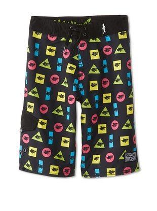 66% OFF Maui & Sons Boy's Shark Elements Board Shorts (Black)