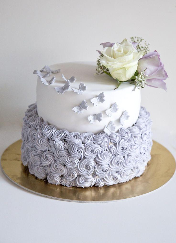 Butterfly Rosette Wedding Cake
