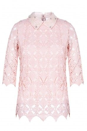 Donna Embellished Collar Crochet Top in Blush