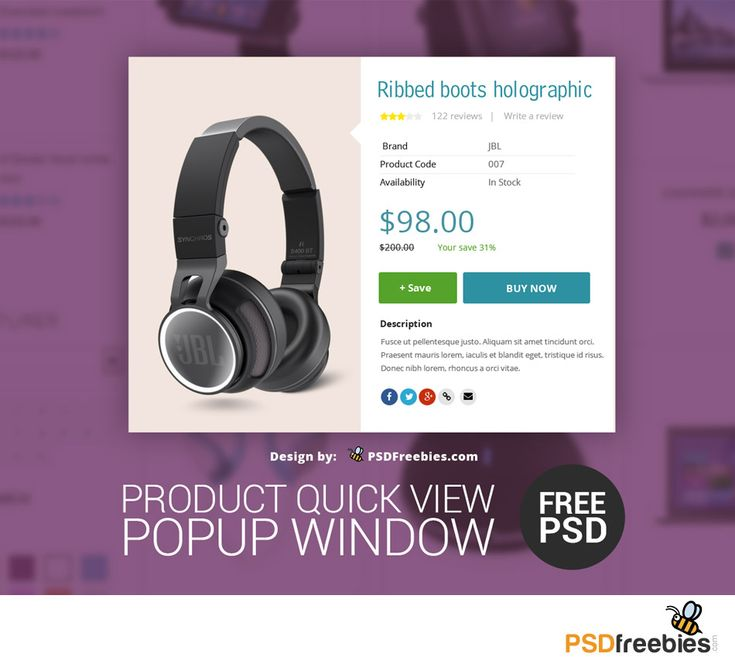 <p>Download Free Product Quick view Popup Window PSD. Use this PSD in your own upcoming E-Commerce projects. This Design layout gives your shoppers a quick access to product preview in one click without reloading the whole site. You are welcome to download and it's totally free to use and share. Thanks for your interest. Hope you like it. Enjoy!</p>
