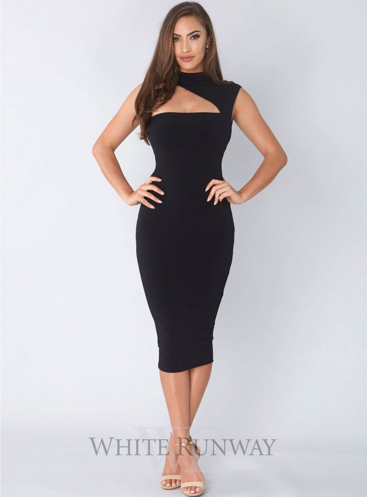 Charlize High Neck Midi Dress. A sleek midi dress by Nookie. A high neck style featuring an asymmetrical cut-out.