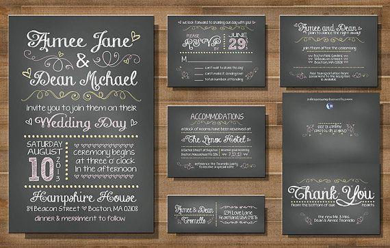 """PRINTABLE Wedding Invitation Suite: """"Chalk it Up to Love"""" -- CUSTOM on Etsy, $60.69 AUD"""