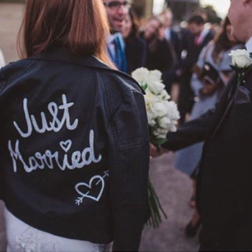 A through back to my own wedding day ❤ Wearing a '& ever babe' customised JUST MARRIED leather jacke - andeverbabe
