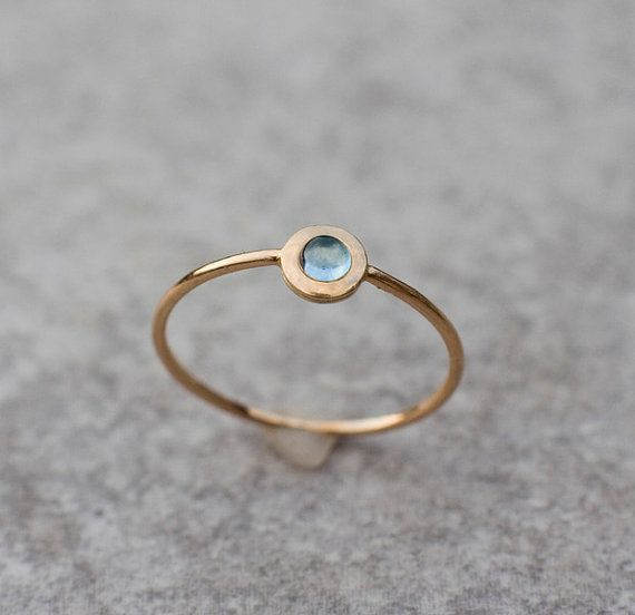 Tiny blue topaz ring, Natual London blue topaz, Solid 14k gold, Delicate Engagement ring, December birthstone, Christmas gift for her