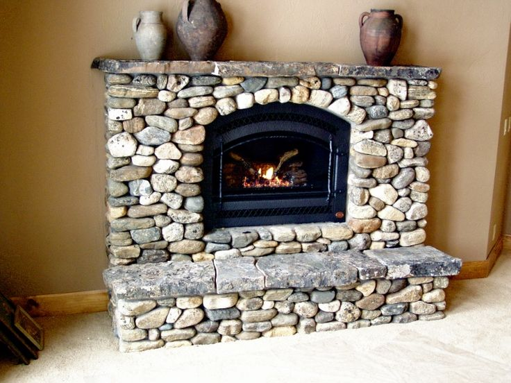 Washington Bar River Rock Fireplace                                                                                                                                                                                 More