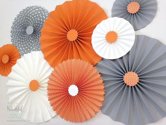 Set of 8 Gray and Orange Rosettes  Gray by BeautifulPaperCrafts
