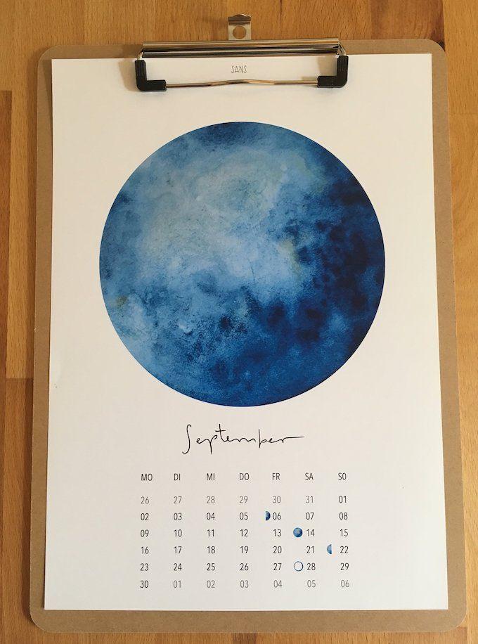 Calendrier 2019 Original Mes Coups De Coeur Lune A L Aquarelle