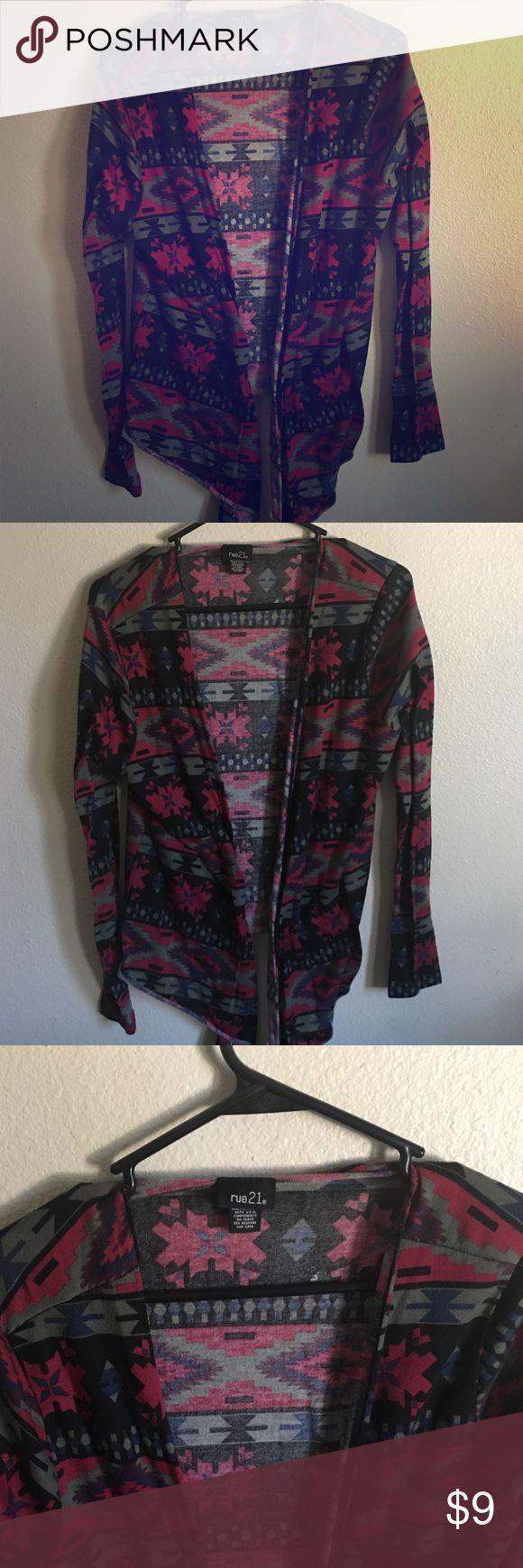 Rue21 tribal cardigan Multicolor tribal cardigan from rue21. Size XL Rue 21 Tops Sweatshirts & Hoodies