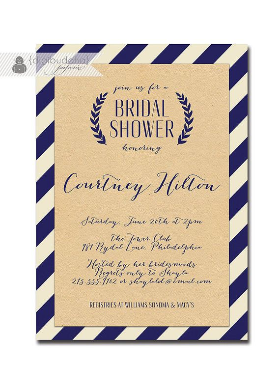 Kraft Bridal Shower Whimsical Script Navy & Off White Striped Modern Bridal Wedding Shower Invitation Printable or Printed - Courtney Style